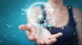 Donna di affari che usando l'interfaccia digitale 3D di intelligenza artificiale Fotografia Stock Libera da Diritti