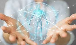 Donna di affari che usando l'interfaccia digitale 3D r di ricerca del corpo umano dei raggi x Fotografia Stock Libera da Diritti