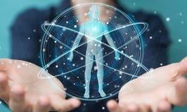 Donna di affari che usando l'interfaccia digitale 3D r di ricerca del corpo umano dei raggi x Immagine Stock Libera da Diritti