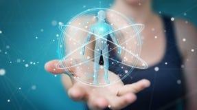 Donna di affari che usando l'interfaccia digitale 3D r di ricerca del corpo umano dei raggi x Fotografie Stock Libere da Diritti