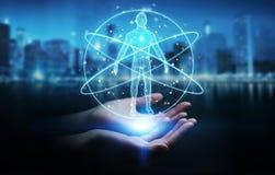 Donna di affari che usando l'interfaccia digitale 3D r di ricerca del corpo umano dei raggi x illustrazione vettoriale