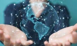 Donna di affari che usando la rappresentazione dell'interfaccia 3D della mappa di mondo di U.S.A. Immagini Stock