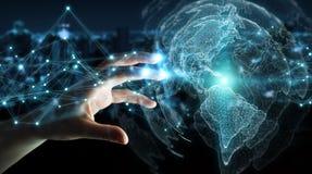 Donna di affari che usando la rappresentazione dell'interfaccia 3D della mappa di mondo di U.S.A. Fotografia Stock Libera da Diritti