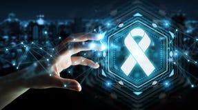Donna di affari che usando la rappresentazione digitale dell'interfaccia 3D del cancro del nastro Fotografie Stock Libere da Diritti
