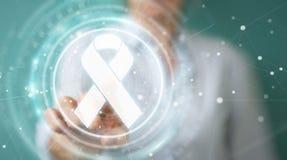 Donna di affari che usando la rappresentazione digitale dell'interfaccia 3D del cancro del nastro Fotografia Stock Libera da Diritti