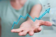 Donna di affari che usando la rappresentazione moderna digitale della freccia 3D Immagini Stock