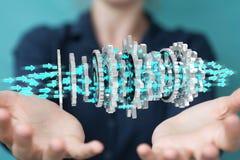 Donna di affari che usando la rappresentazione moderna di galleggiamento del meccanismo di ingranaggio 3D Immagini Stock Libere da Diritti