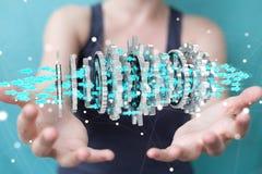 Donna di affari che usando la rappresentazione moderna di galleggiamento del meccanismo di ingranaggio 3D Immagine Stock Libera da Diritti