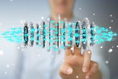 Donna di affari che usando la rappresentazione moderna di galleggiamento del meccanismo di ingranaggio 3D Immagine Stock