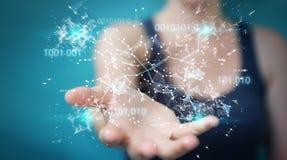 Donna di affari che usando la rete digitale 3D del collegamento di codice binario con riferimento a Immagini Stock Libere da Diritti