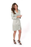 Donna di affari che usando PDA 6 Immagine Stock