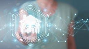 Donna di affari che usando renderi di applicazione 3D di assicurazione di cura della famiglia Immagini Stock Libere da Diritti