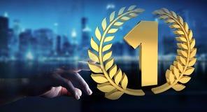 Donna di affari che vince la prima rappresentazione dorata di prezzi 3D Immagini Stock