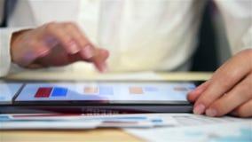 Donna di affari Checking Financial Report video d archivio