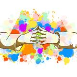 Donna di affari Colorful Hands Sign illustrazione vettoriale