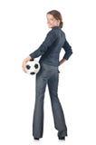 Donna di affari con gioco del calcio Fotografie Stock Libere da Diritti