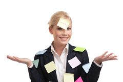 Donna di affari con gli autoadesivi colorati sul suo fronte Immagini Stock Libere da Diritti
