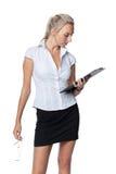 Donna di affari con i appunti Fotografia Stock Libera da Diritti