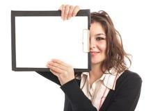 Donna di affari con i appunti Immagini Stock Libere da Diritti