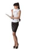 Donna di affari con i appunti Fotografia Stock