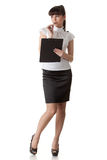 Donna di affari con i appunti Fotografie Stock Libere da Diritti