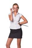Donna di affari con i appunti Immagine Stock Libera da Diritti