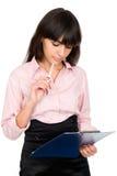 Donna di affari con i appunti in sue mani Immagini Stock