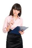 Donna di affari con i appunti in sue mani Fotografie Stock