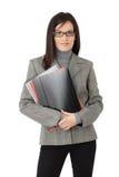 Donna di affari con i dispositivi di piegatura di archivio Fotografie Stock Libere da Diritti