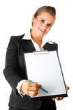 Donna di affari con i documenti per la vostra sign fotografia stock