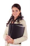 Donna di affari con i fascicoli di documenti immagine stock