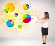 Donna di affari con i grafici variopinti ed i grafici Immagini Stock