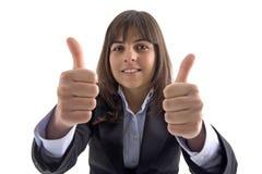 Donna di affari con i pollici in su Immagine Stock Libera da Diritti