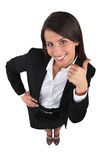 Donna di affari con i pollici su Immagine Stock