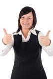 Donna di affari con i pollici in su immagini stock