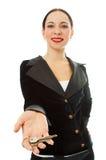 Donna di affari con i tasti Immagine Stock