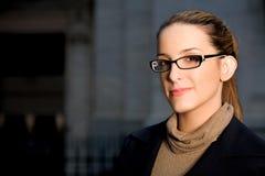 Donna di affari con i vetri Fotografia Stock Libera da Diritti