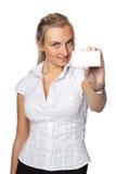 Donna di affari con il biglietto da visita in bianco Fotografie Stock Libere da Diritti