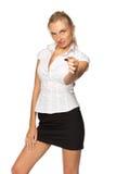 Donna di affari con il biglietto da visita in bianco Immagine Stock