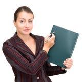 Donna di affari con il blocchetto per appunti Fotografia Stock