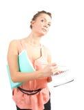 Donna di affari con il blocchetto per appunti e la matita Immagine Stock