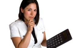 Donna di affari con il calcolatore Fotografie Stock Libere da Diritti