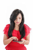 Donna di affari con il calcolatore del ridurre in pani Immagine Stock