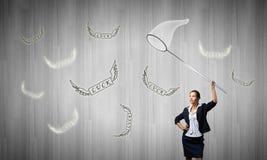 Donna di affari con il cerchio Immagini Stock Libere da Diritti