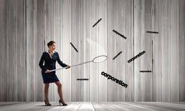 Donna di affari con il cerchio Fotografia Stock Libera da Diritti