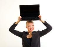 Donna di affari con il computer immagini stock