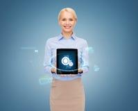 Donna di affari con il computer del pc della compressa Immagini Stock
