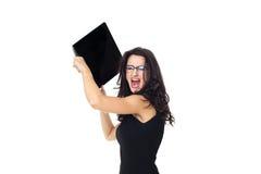 Donna di affari con il computer portatile Fotografia Stock