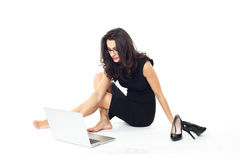 Donna di affari con il computer portatile Fotografia Stock Libera da Diritti
