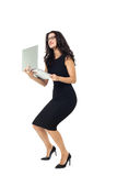 Donna di affari con il computer portatile Immagine Stock